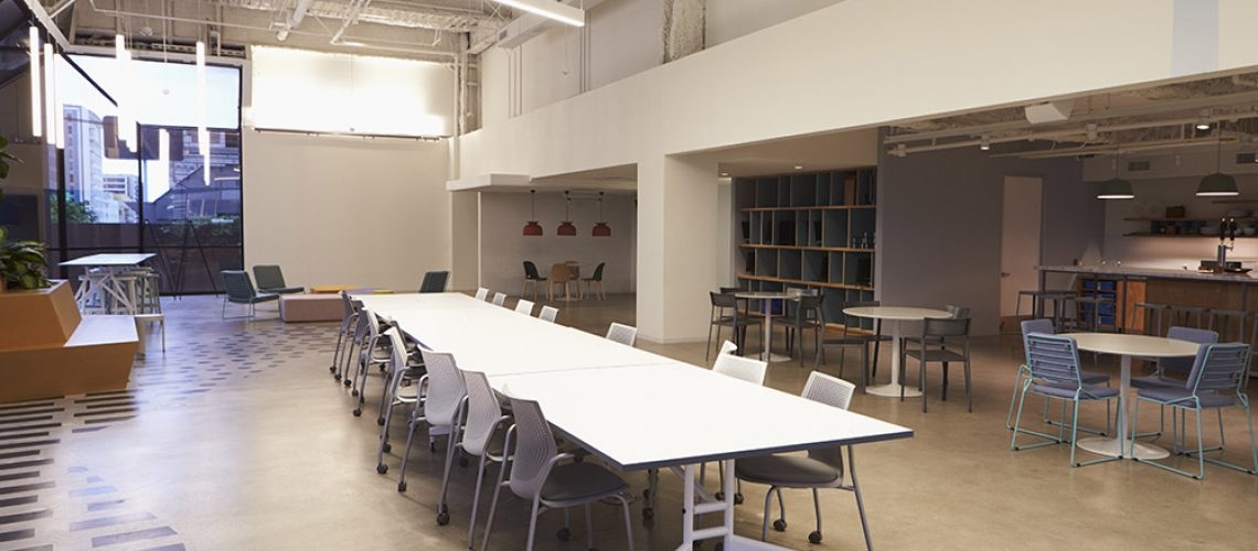 Empty cafeteria in a corporate business, Los Angeles